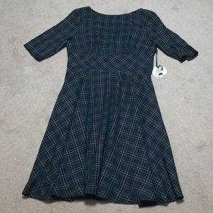 NWT Hell Bunny Green Tartan Dress with Pockets!